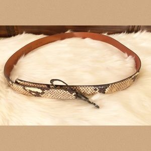 Terry Stack Snake Print Italian Leather Belt NWT